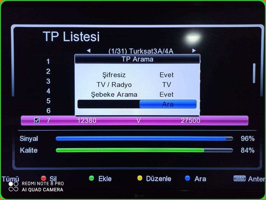 Menü tuşuna basıyoruz uydu kuruluma giriyoruz yeni kanal ekleme bölümüne giriyoruz orada frekansları mızı yazıyoruz 12.380 v 27.500 arama tuşuna basıyoruz şebeke aktif diyoruz sizde kolay bir şekilde Türksat uydu güncellemesi sini yapabilirsiniz...